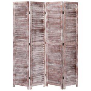 Biombo com 4 painéis 140x165 cm madeira castanho - PORTES GRÁTIS
