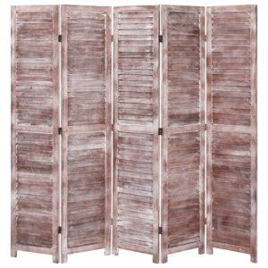 Biombo com 5 painéis 175x165 cm madeira castanho - PORTES GRÁTIS