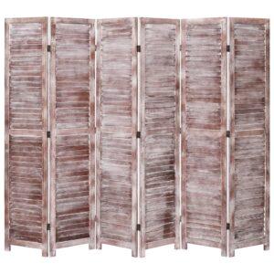 Biombo com 6 painéis 210x165 cm madeira castanho - PORTES GRÁTIS