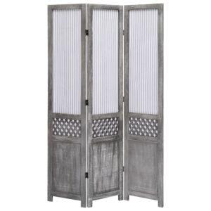 Biombo com 3 painéis 105x165 cm tecido cinzento - PORTES GRÁTIS