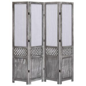 Biombo com 4 painéis 140x165 cm tecido cinzento - PORTES GRÁTIS