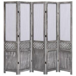 Biombo com 5 painéis 175x165 cm tecido cinzento - PORTES GRÁTIS