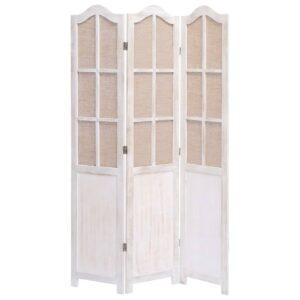 Biombo com 3 painéis 105x165 cm tecido branco - PORTES GRÁTIS