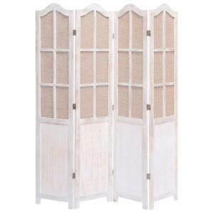 Biombo com 4 painéis 140x165 cm tecido branco - PORTES GRÁTIS