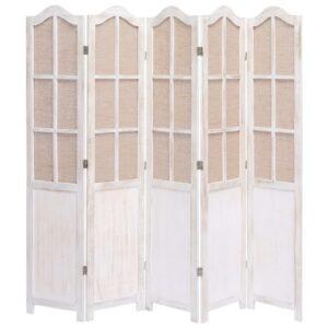 Biombo com 5 painéis 175x165 cm tecido branco - PORTES GRÁTIS