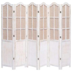 Biombo com 6 painéis 210x165 cm tecido branco - PORTES GRÁTIS