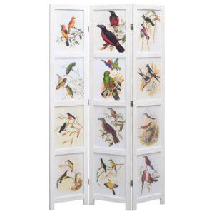 Biombo com 3 painéis 105x165 cm pássaros branco - PORTES GRÁTIS