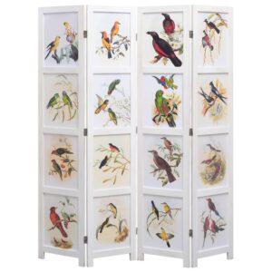 Biombo com 4 painéis 140x165 cm pássaros branco - PORTES GRÁTIS