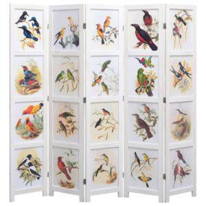 Biombo com 5 painéis 175x165 cm pássaros branco - PORTES GRÁTIS