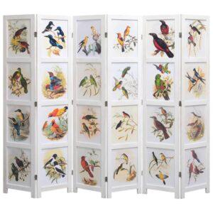 Biombo com 6 painéis 210x165 cm pássaros branco - PORTES GRÁTIS