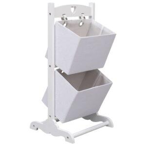 Prateleira de cestos de 2 níveis 35x35x72 cm madeira branco - PORTES GRÁTIS