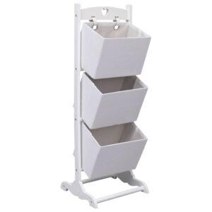 Prateleira de cestos de 3 níveis 35x35x102 cm madeira branco - PORTES GRÁTIS