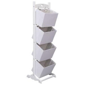 Prateleira de cestos de 4 níveis 35x35x125 cm madeira branco - PORTES GRÁTIS