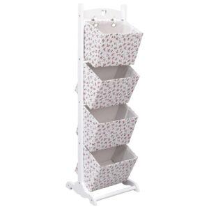 Prateleira de cestos de 4 níveis 35x35x125 cm madeira floral - PORTES GRÁTIS