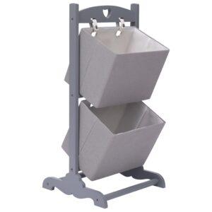 Prateleira cestos 2 níveis 35x35x72 cm madeira cinzento-escuro - PORTES GRÁTIS