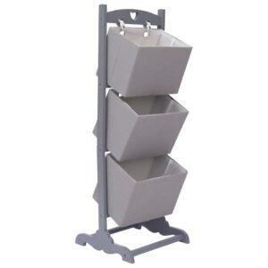 Prateleira cestos 3 níveis 35x35x102 cm madeira cinzento-escuro - PORTES GRÁTIS