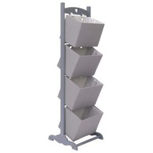 Prateleira cestos 4 níveis 35x35x125 cm madeira cinzento-escuro - PORTES GRÁTIS