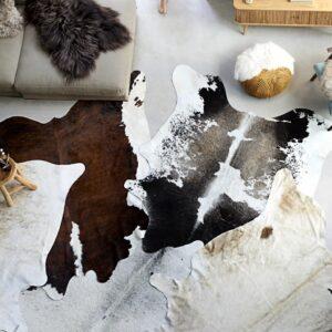 Tapete em pele de vaca genuína 150x170 cm preto e branco - PORTES GRÁTIS