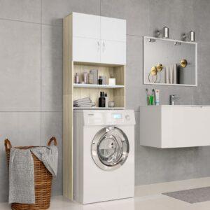 Armário máq. lavar roupa 64x25,5x190cm branco e carvalho sonoma - PORTES GRÁTIS
