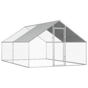 Galinheiro exterior em aço galvanizado 2,75x4x2 m - PORTES GRÁTIS
