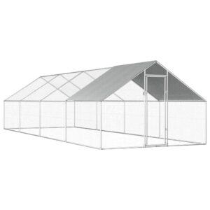 Galinheiro exterior em aço galvanizado 2,75x8x2 m - PORTES GRÁTIS
