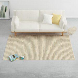 Tapete 160x230 cm cânhamo lã natural/branco - PORTES GRÁTIS