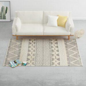 Tapete tecido à mão 80x150 cm lã branco/cinzento/preto/castanho - PORTES GRÁTIS