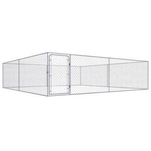 Canil de exterior em aço galvanizado 4x4x1,85 m  - PORTES GRÁTIS