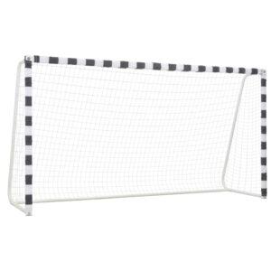Baliza de futebol 300x160x90 cm metal preto e branco - PORTES GRÁTIS