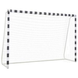 Baliza de futebol 300x200x90 cm metal preto e branco - PORTES GRÁTIS