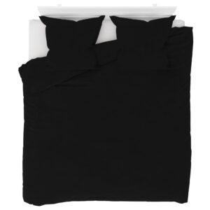 3 pcs conjunto capa de edredão lã 200x200/80x80 cm preto - PORTES GRÁTIS