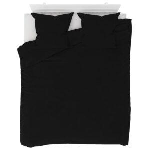 3 pcs conjunto capa de edredão lã 200x220/80x80 cm preto - PORTES GRÁTIS