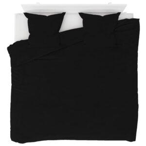 3 pcs conjunto capa de edredão lã 240x220/80x80 cm preto - PORTES GRÁTIS