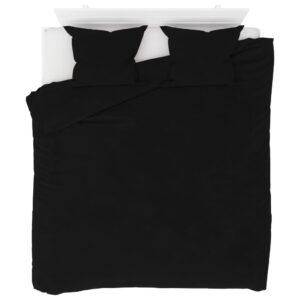 3 pcs conjunto capa de edredão lã 200x200/60x70 cm preto - PORTES GRÁTIS