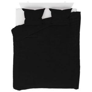 3 pcs conjunto capa de edredão lã 200x220/60x70 cm preto - PORTES GRÁTIS