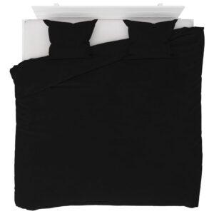 3 pcs conjunto capa de edredão lã 240x220/60x70 cm preto - PORTES GRÁTIS