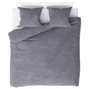 3 pcs conjunto capa de edredão lã 200x200/60x70 cm cinzento - PORTES GRÁTIS