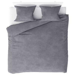 3 pcs conjunto capa de edredão lã 200x220/60x70 cm cinzento - PORTES GRÁTIS