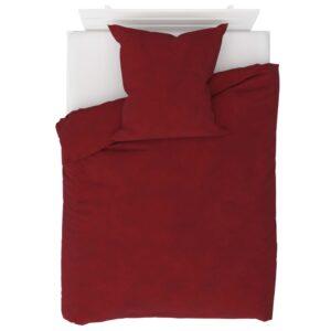 2 pcs conjunto capa edredão lã 135x200/80x80 cm vermelho tinto - PORTES GRÁTIS
