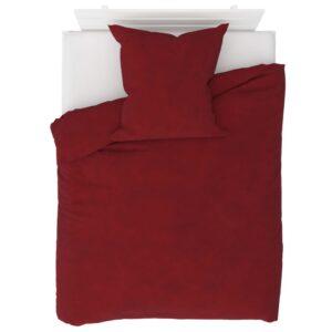 2 pcs conjunto capa edredão lã 155x200/80x80 cm vermelho tinto - PORTES GRÁTIS