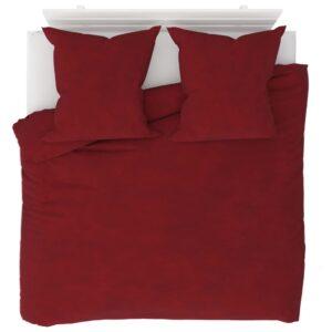 3 pcs conjunto capa edredão lã 200x200/80x80 cm vermelho tinto - PORTES GRÁTIS