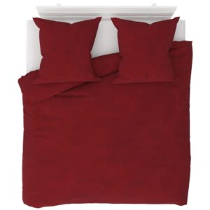 3 pcs conjunto capa edredão lã 200x220/80x80 cm vermelho tinto - PORTES GRÁTIS