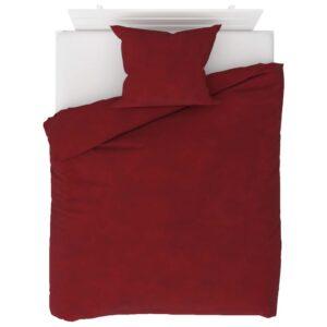 2 pcs conjunto capa edredão lã 140x200/60x70 cm vermelho tinto - PORTES GRÁTIS
