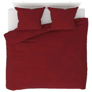 3 pcs conjunto capa edredão lã 200x200/60x70 cm vermelho tinto - PORTES GRÁTIS