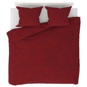 3 pcs conjunto capa edredão lã 200x220/60x70 cm vermelho tinto - PORTES GRÁTIS