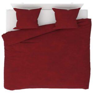 3 pcs conjunto capa edredão lã 240x220/60x70 cm vermelho tinto - PORTES GRÁTIS