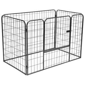 Parque para cães resistente 120x80x70 cm aço preto - PORTES GRÁTIS