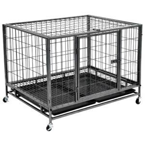 Jaula para cães resistente com rodas aço 98x77x72 cm - PORTES GRÁTIS