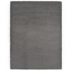 Tapete em pele de coelho artificial 80x150 cm cinzento-escuro - PORTES GRÁTIS