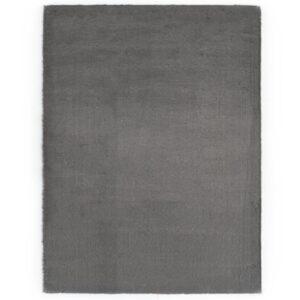 Tapete em pele de coelho artificial 140x200 cm cinzento-escuro - PORTES GRÁTIS